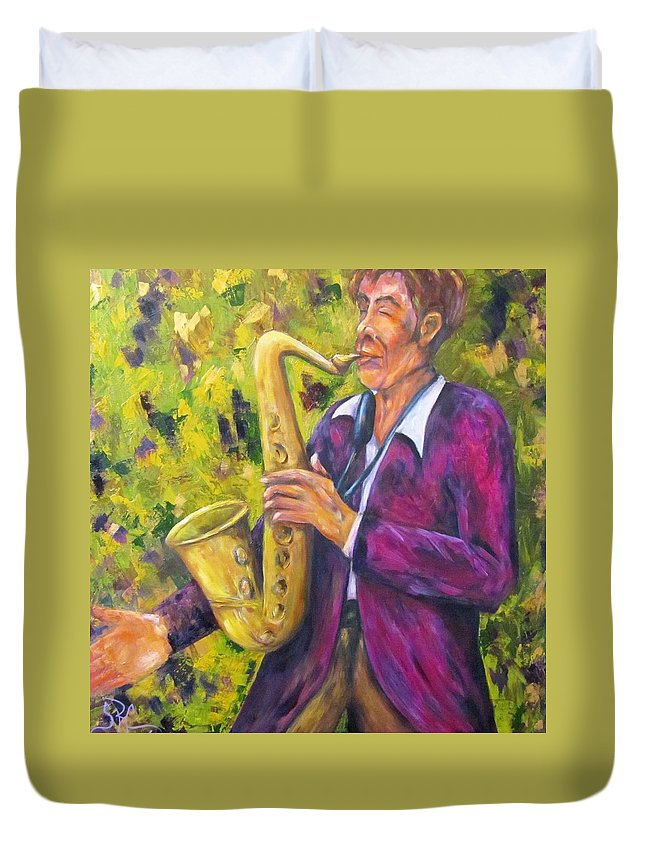 Saxophone Player Duvet Cover featuring the painting All That Jazz, Saxophone by Sandra Reeves