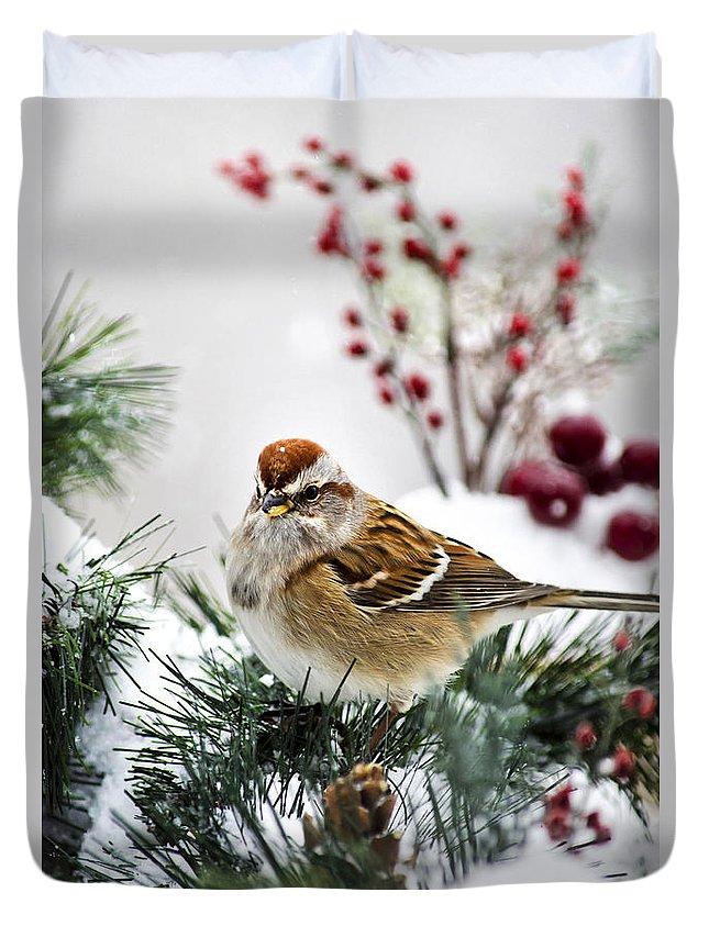 Bird Duvet Cover featuring the photograph Christmas Sparrow by Christina Rollo