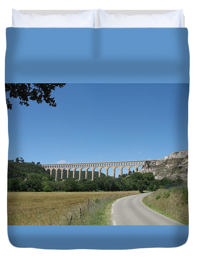 Aqueduct Duvet Cover featuring the photograph Aqueduct Roquefavour by Christiane Schulze Art And Photography