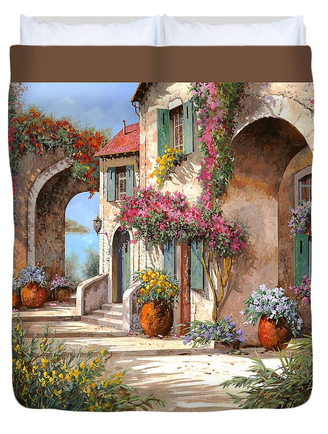 Arches Duvet Cover featuring the painting Archi E Fiori by Guido Borelli