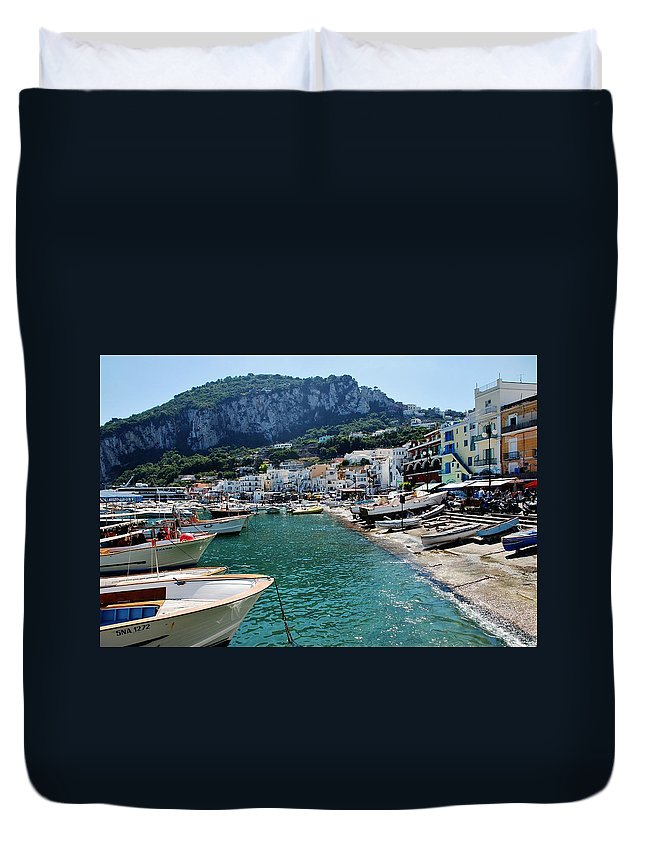 Capri Duvet Cover featuring the photograph Arrival To Capri by Dany Lison
