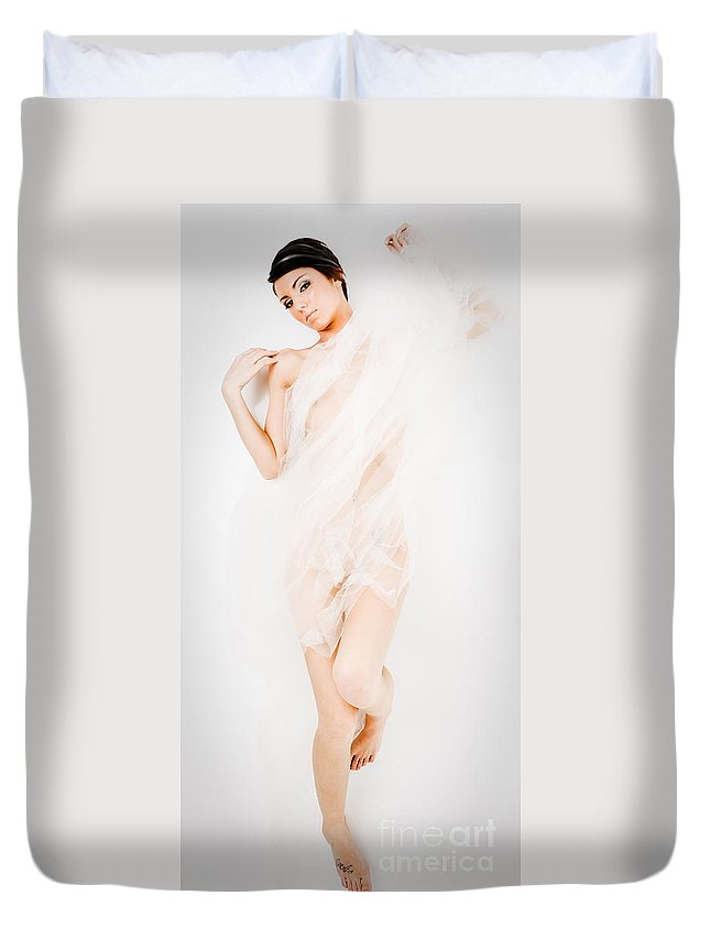 Areal View Duvet Cover featuring the photograph Art Of A Woman by Jt PhotoDesign