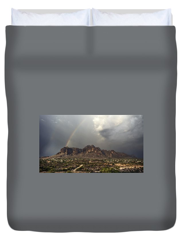 Sunset Duvet Cover featuring the photograph At The End Of The Rainbow by Saija Lehtonen