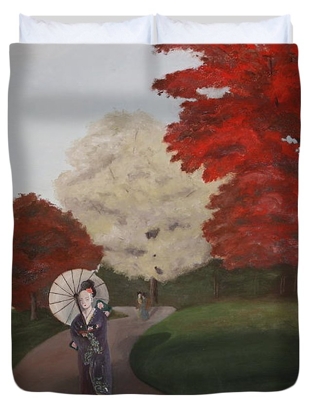 Geisha Duvet Cover featuring the painting Autumn Geisha by Erin Nessler
