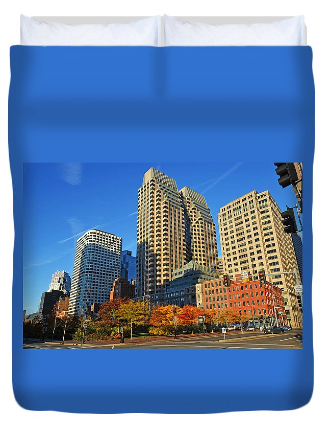 Boston Duvet Cover featuring the photograph Autumn In Boston by Toby McGuire