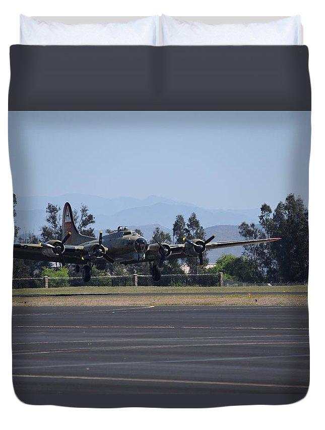 B-17 Duvet Cover featuring the photograph B-17 Flying Fortress by Steve Scheunemann