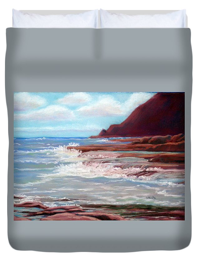 Ocean Duvet Cover featuring the painting Backflow by Julia RIETZ