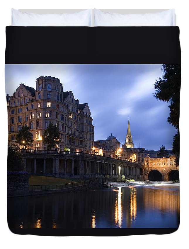Bath Duvet Cover featuring the photograph Bath City Spa Viewed Over The River Avon At Night by Mal Bray