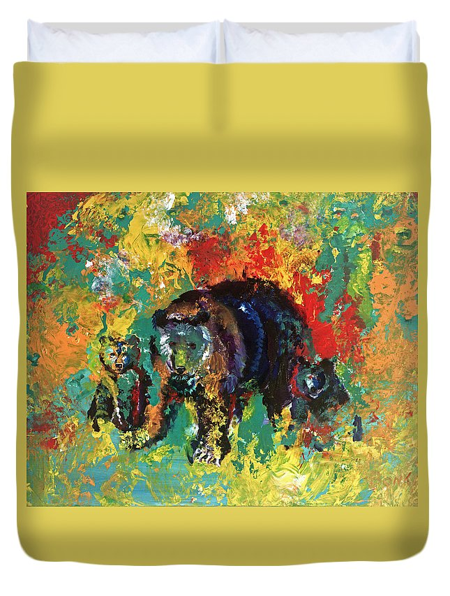 Bears Duvet Cover featuring the painting Bear Family by Peter Bonk