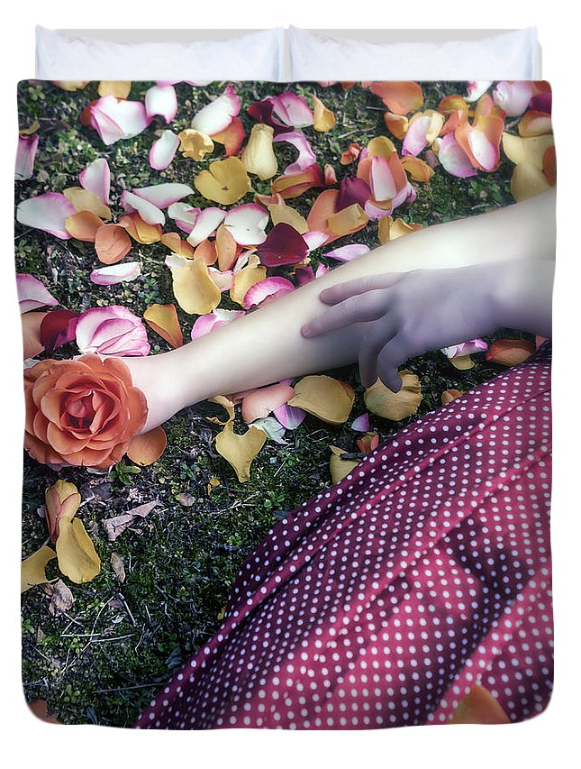 Woman Duvet Cover featuring the photograph Bedded In Petals by Joana Kruse