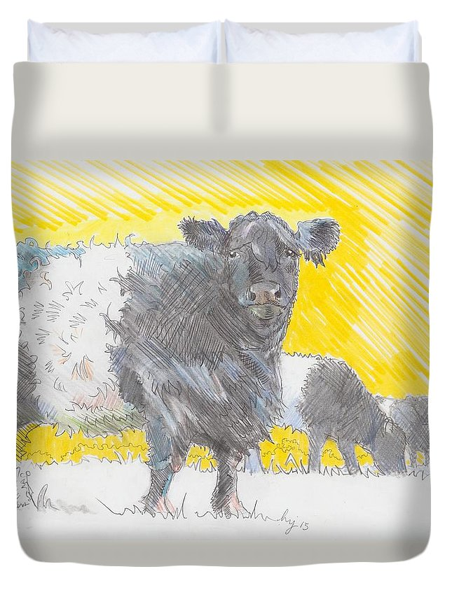 Belted Duvet Cover featuring the drawing Belted Galloway Cows by Mike Jory