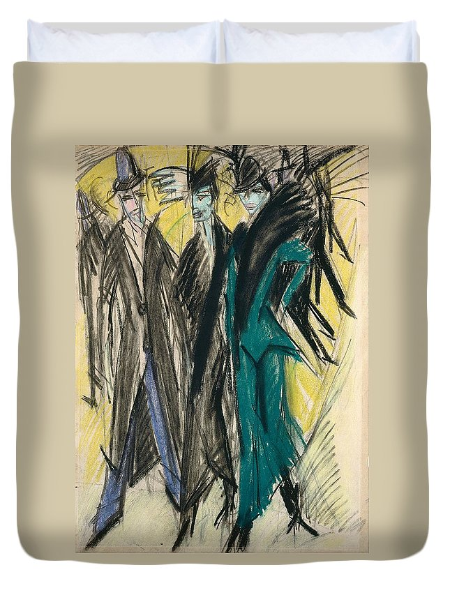 1914 Duvet Cover featuring the painting Berlin Street Scene by Ernst Ludwig Kirchner