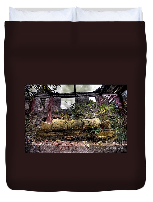 Abandoned Duvet Cover featuring the photograph Big Comfy Couch by Amy Cicconi