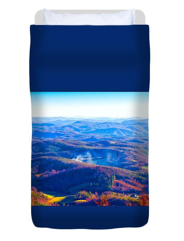 Blue Duvet Cover featuring the photograph Blue Ridge Mountains by Les Palenik
