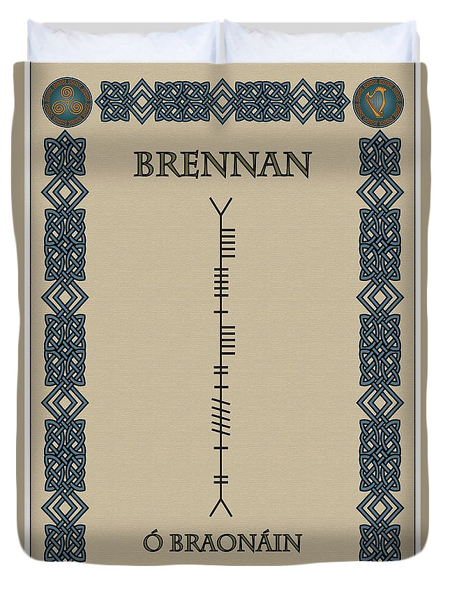 Brennan Duvet Cover featuring the digital art Brennan Written In Ogham by Ireland Calling