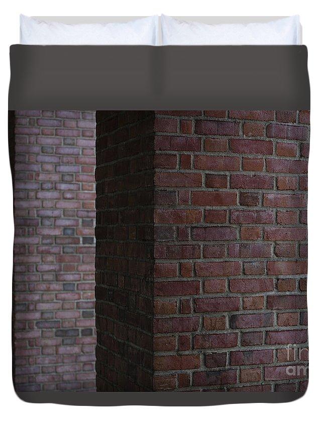 Everett Train Station Duvet Cover featuring the photograph Brick Columns by Jim Corwin