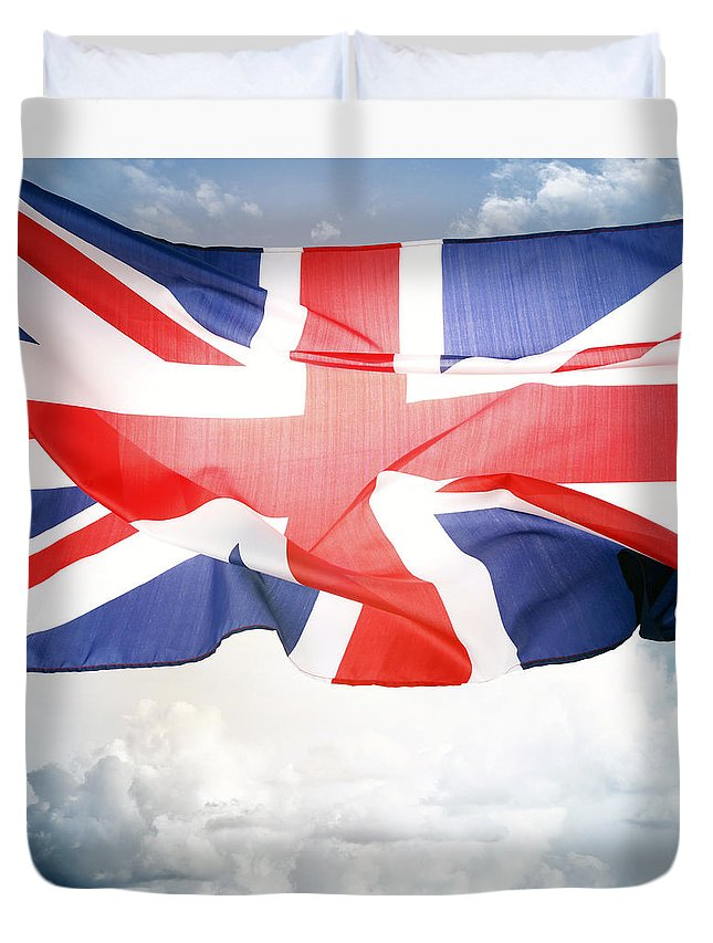 Flag Duvet Cover featuring the photograph British Flag 3 by Les Cunliffe