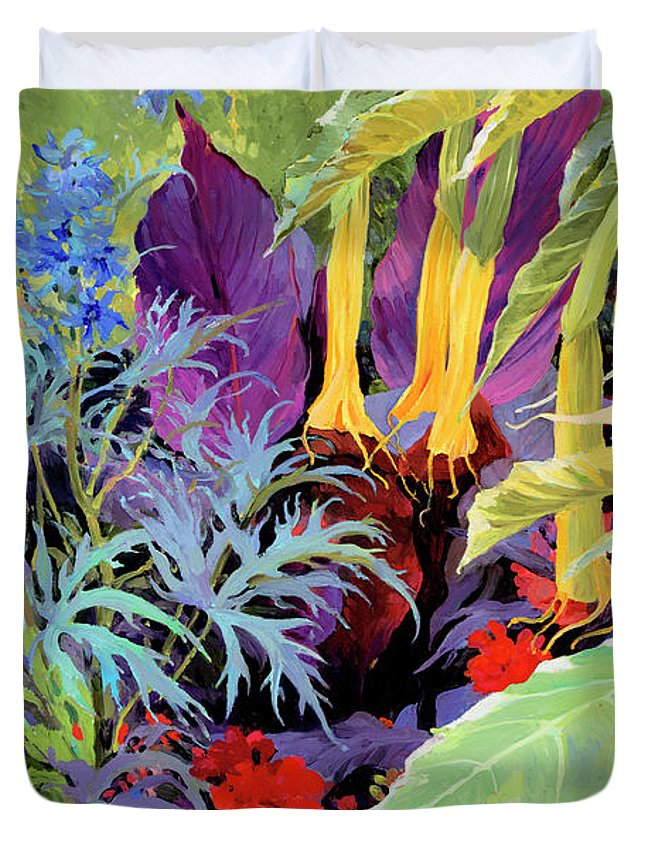 Judith Barath Art Duvet Cover featuring the painting Brugmansia-1 by Judith Barath