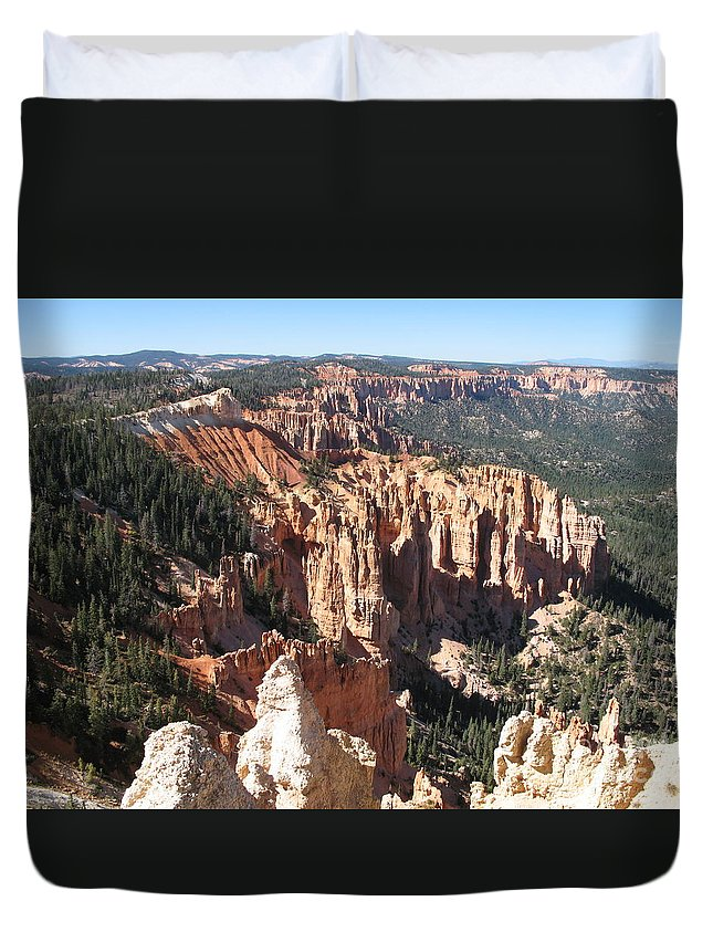 Mountains Duvet Cover featuring the photograph Bryce Canyon Overlook by Christiane Schulze Art And Photography