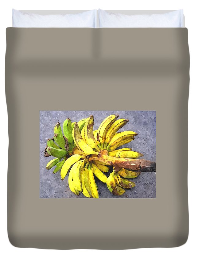 Banana Duvet Cover featuring the painting Bunch Of Banana by Jeelan Clark