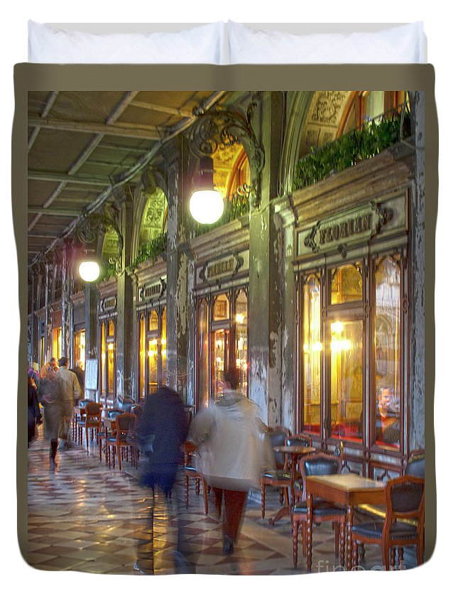 Venice Duvet Cover featuring the photograph Caffe Florian Arcade by Heiko Koehrer-Wagner