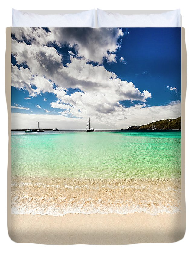 Tropical Tree Duvet Cover featuring the photograph Caribbean Beach by Guvendemir
