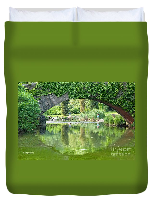 Central Park Duvet Cover featuring the photograph Central Park Gapstow Bridge II by Regina Geoghan