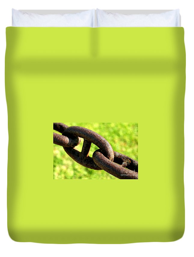 Rusty Duvet Cover featuring the photograph Chain by Henrik Lehnerer