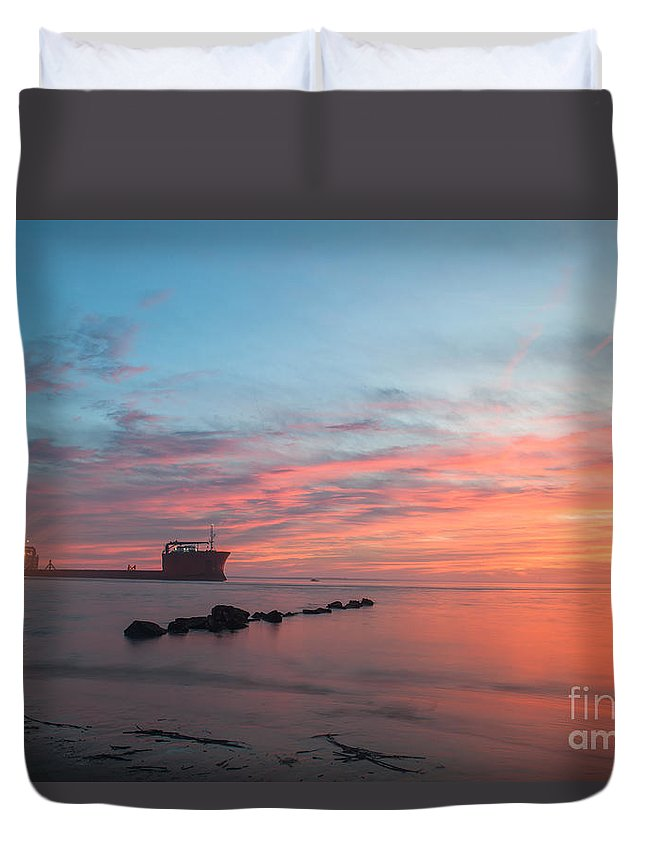 Sunset Duvet Cover featuring the photograph Charleston Harbor Sunset by Dale Powell