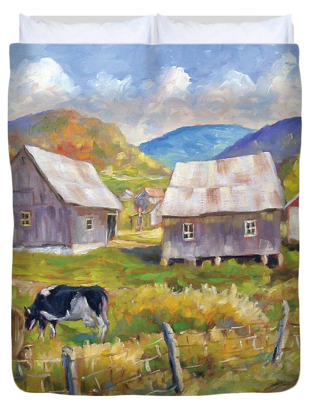 Art Duvet Cover featuring the painting Charlevoix North by Richard T Pranke