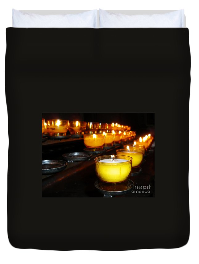 Holiday Duvet Cover featuring the photograph Church Candles by Henrik Lehnerer