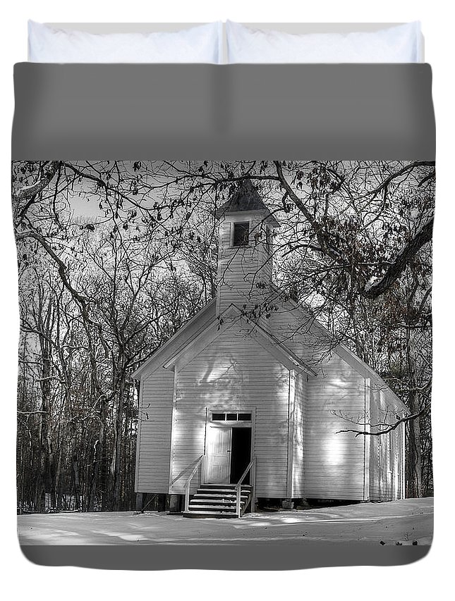 Cades Cove Church Duvet Cover featuring the photograph Church In The Cove by Michael Eingle