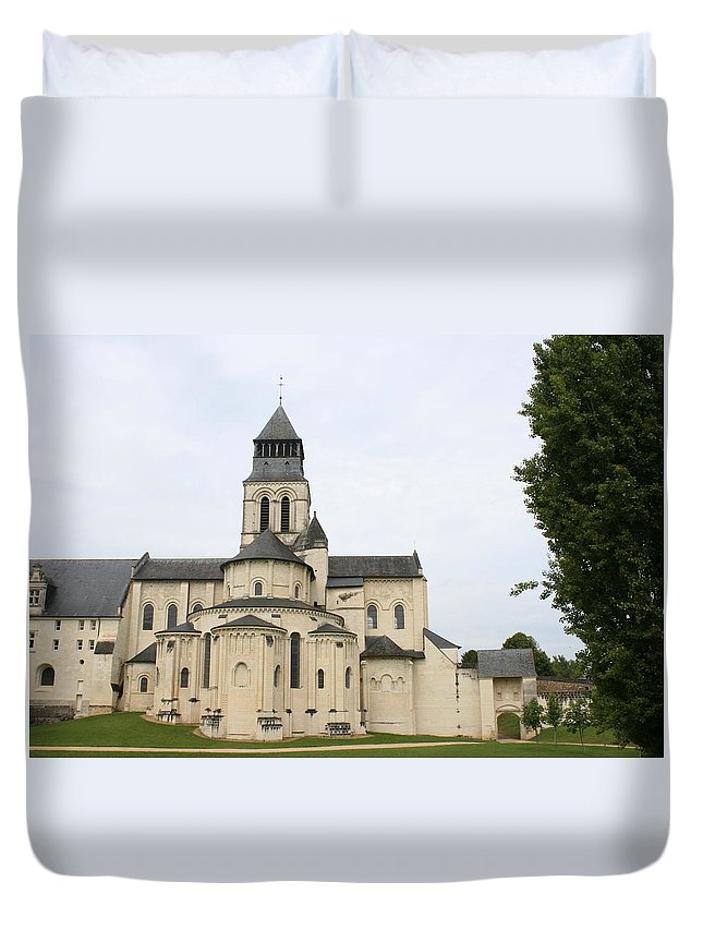 Cloister Duvet Cover featuring the photograph Cloister Fontevraud - France by Christiane Schulze Art And Photography