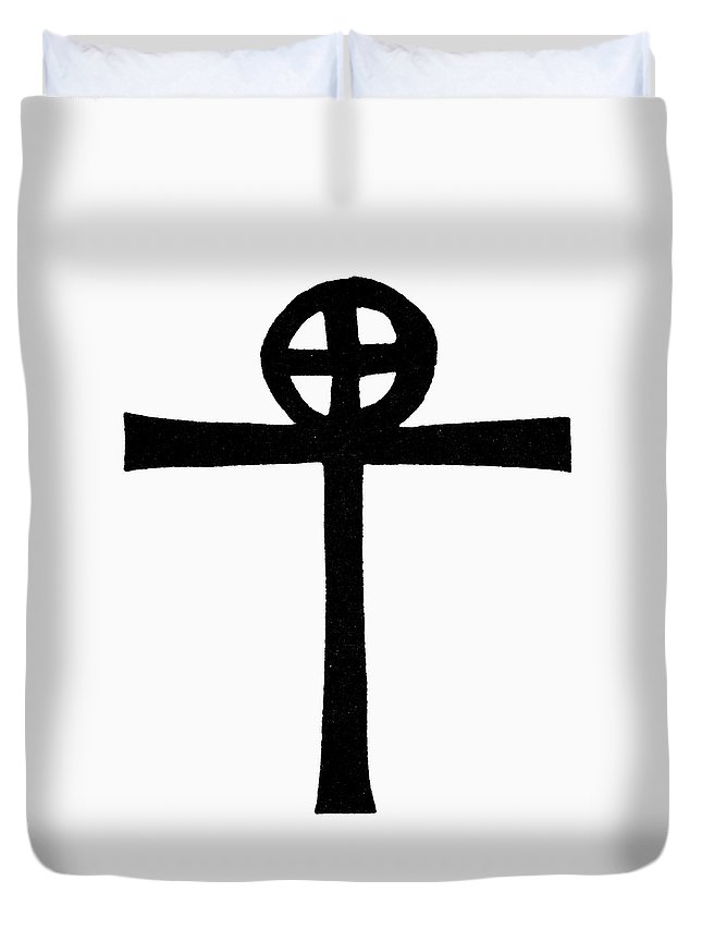African Duvet Cover featuring the painting Coptic Cross by Granger