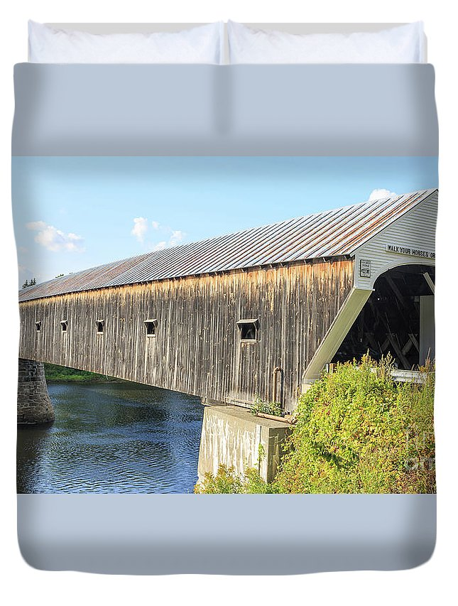 Vermont Duvet Cover featuring the photograph Cornish-windsor Covered Bridge IIi by Edward Fielding