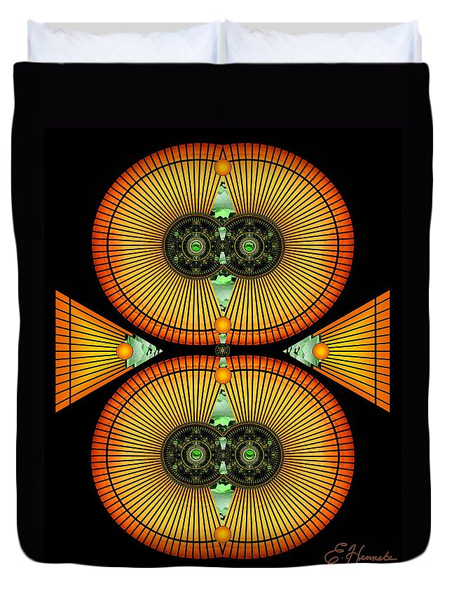 Cosmic Mitosis Duvet Cover featuring the mixed media Cosmic Mitosis by Ellen Henneke