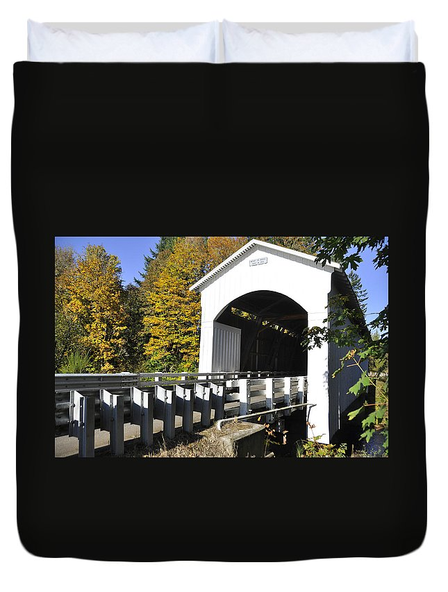 Covered Bridge Duvet Cover featuring the photograph Cottage Grove Or Covered Bridge Tour by Wendy Elliott