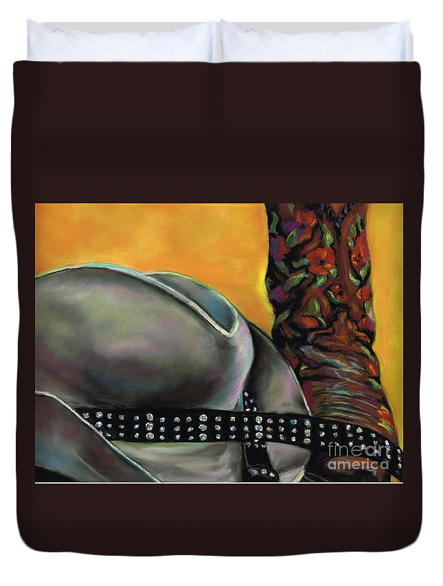 Cowgirls Duvet Cover featuring the painting Cowgirl Necessities by Frances Marino