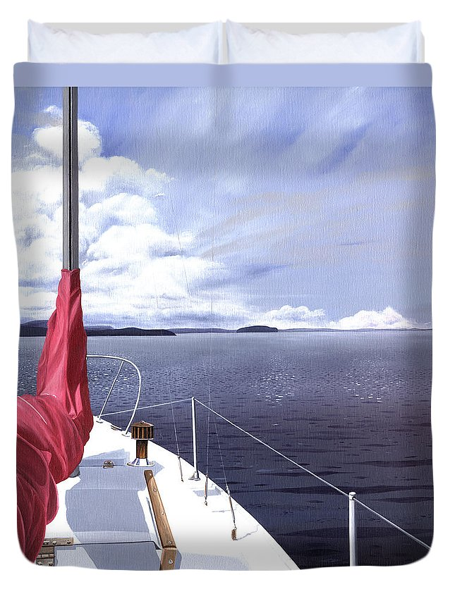 Sailing Duvet Cover featuring the painting Cruising North by Gary Giacomelli