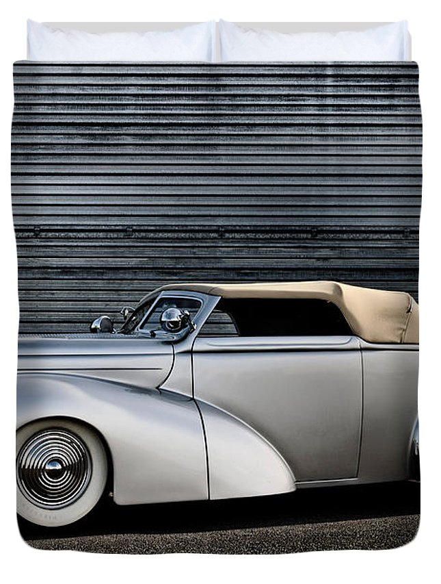 Silver Duvet Cover featuring the photograph Custom Ford Coupe by Frank Kletschkus