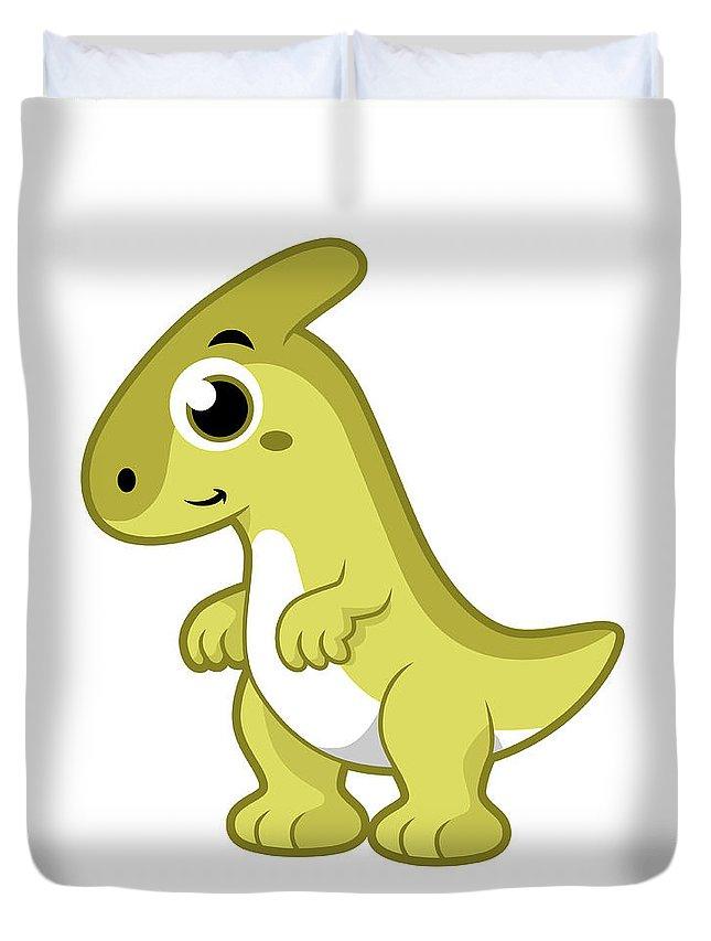 Vertical Duvet Cover featuring the digital art Cute Illustration Of A Parasaurolophus by Stocktrek Images