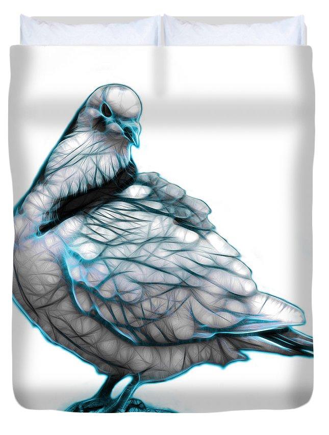 Pigeon Art Duvet Cover featuring the digital art Cyan Pigeon Pop Art 5516 - Fs - Bb - Modern Animal Artist James by James Ahn