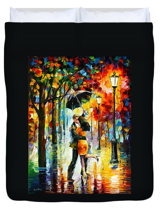 Dance Duvet Cover featuring the painting Dance Under The Rain by Leonid Afremov