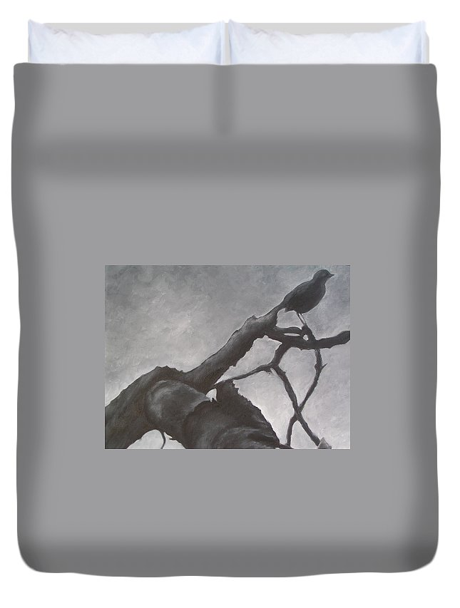 Bird Duvet Cover featuring the painting Dark Day by Patty Weeks