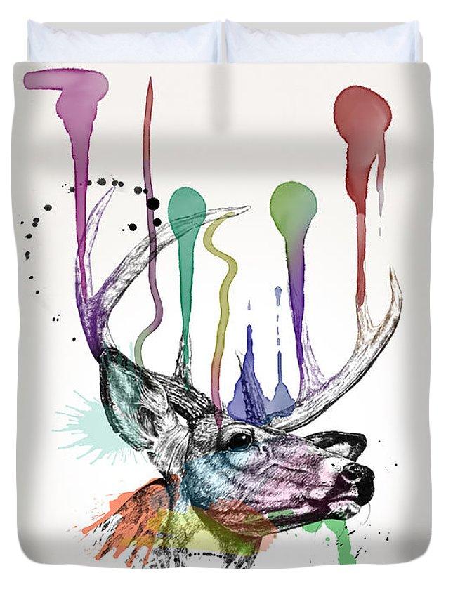 Deer Duvet Cover featuring the painting Deer by Mark Ashkenazi