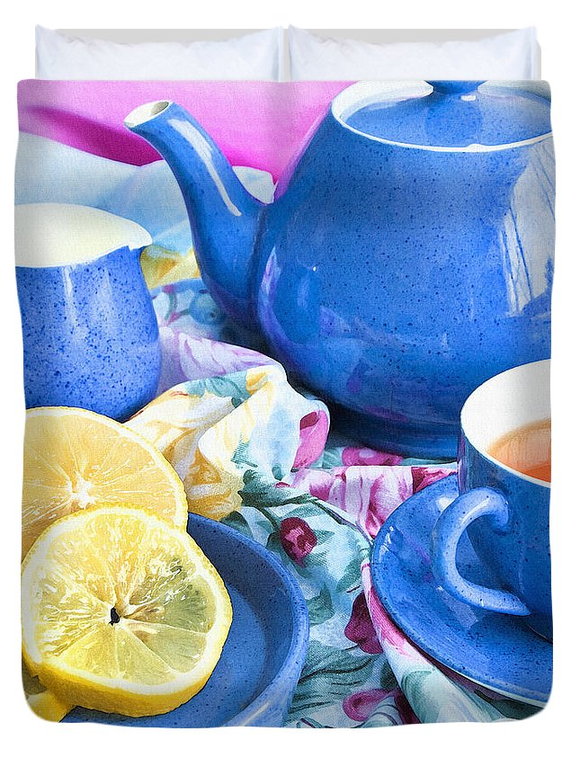 Kitchen Duvet Cover featuring the photograph Do You Take Lemon? by Theresa Tahara