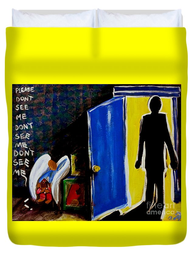 Don't Duvet Cover featuring the painting Don't See Me by Jackie Carpenter