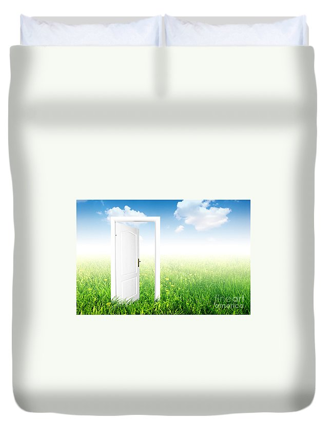 Air Duvet Cover featuring the photograph Door To The New World. by Michal Bednarek