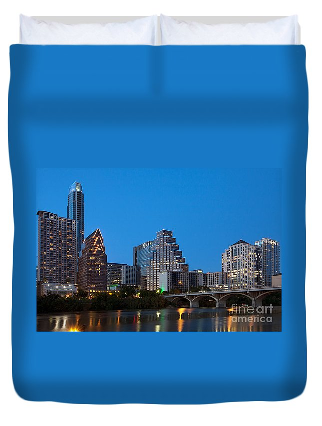 Austonian Duvet Cover featuring the photograph Downtown Austin Skyline by Bill Cobb