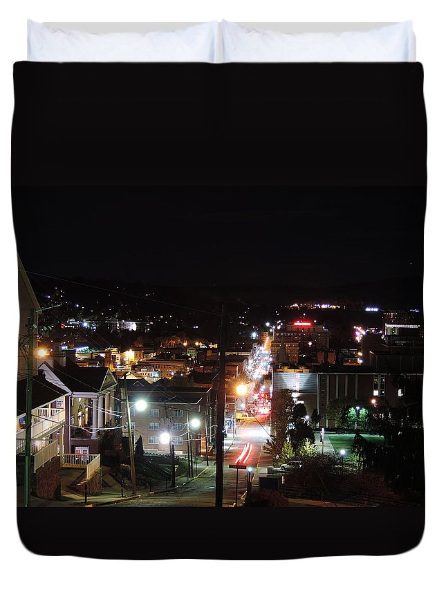City Duvet Cover featuring the photograph Downtown Morgantown From Above by Cityscape Photography